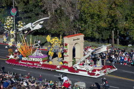 tournament of roses: Pasadena, California, USA - January 2, 2012: Paramount Pictures Float Called 100 Years Of Movie Magic participated in the 123rd Tournament of Roses Parade. Editorial