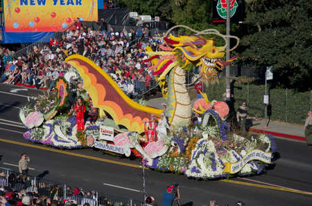 rose bowl parade: Pasadena, California, USA - January 2, 2012: China Airlines Float Called: Spirit Of Prosperity And Harmony, participated in the 123rd Tournament of Roses Parade.