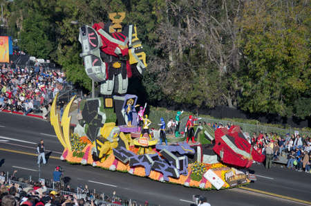 rose bowl parade: Pasadena, California, USA - January 2, 2012: NAMCO BANDAI GAMES AMERICA Float called: Sabans Power Rangers Samurai Video Game, participated in the 123rd Tournament of Roses Parade.