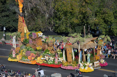 Pasadena, California, USA - January 2, 2012: Downey Rose Float Association Float called Enchanted Paradise participated in the 123rd Tournament of Roses Parade. Stock Photo - 11767649