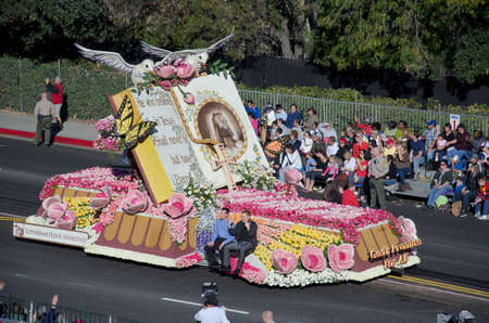 tournament of roses: Pasadena, California, USA - January 2, 2012: Lutheran Hour Ministries Float called: Gods Promise, participated in the 123rd Tournament of Roses Parade.