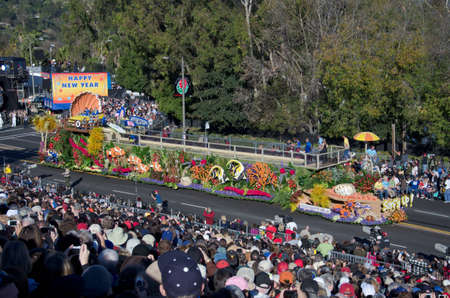 Pasadena, California, USA - January 2, 2012: Natural Balance Pet Foods Float called: Surfs Up, participated in the 123rd Tournament of Roses Parade.