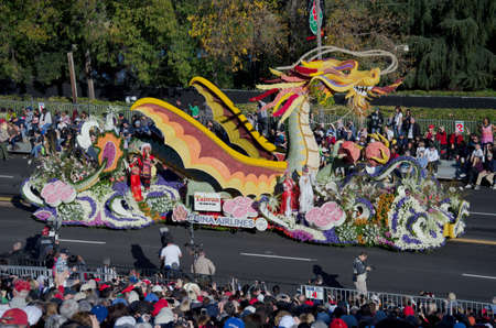 Pasadena, California, USA - January 2, 2012: China Airlines Float Called: Spirit Of Prosperity And Harmony, participated in the 123rd Tournament of Roses Parade. Stock Photo - 11767652