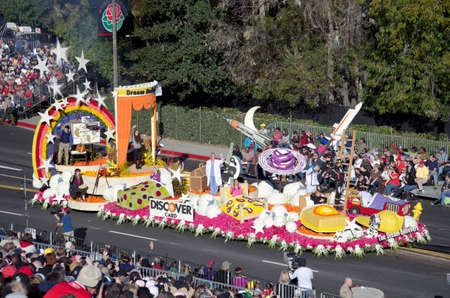 rose bowl parade: Pasadena, California, USA - January 2, 2012: The Discover Card Float called: The Dream Believers, participated in the 123rd Tournament of Roses Parade. Editorial
