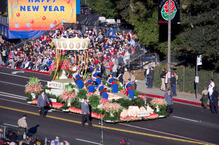 Pasadena, California, USA - January 2, 2012: Macys Float called: Presenting The Royal Court, participated in the 123rd Tournament of Roses Parade.