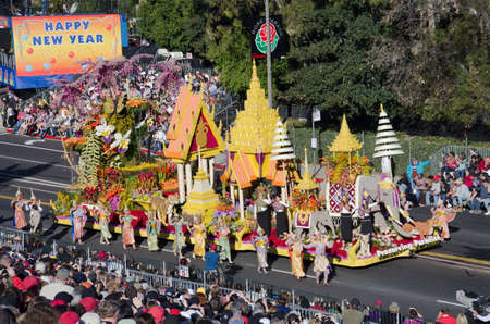 tournament of roses: Pasadena, California, USA - January 2, 2012: The Dole Float called: Preserving Paradise, participated in the 123rd Tournament of Roses Parade.