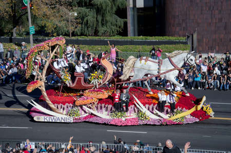 tournament of roses: Pasadena, California, USA - January 2, 2012: Kiwanis International Float called: Winter Wonderland, participated in the 123rd Tournament of Roses Parade.
