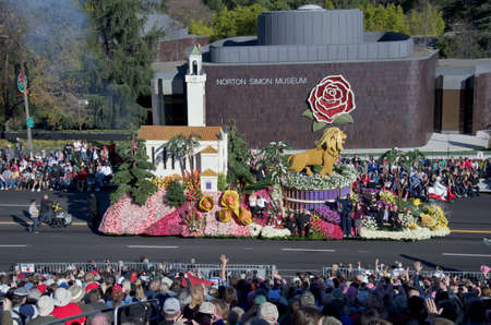 Pasadena, California, USA - January 2, 2012: Loyola Marymount University Float called: Learn, Lead, Serve, participated in the 123rd Tournament of Roses Parade.
