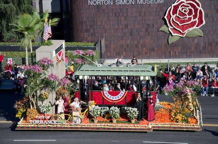 Pasadena, California, USA - January 2, 2012: The City of Torrance Float called: Looking Back Moving Forward, participated in the 123rd Tournament of Roses Parade.