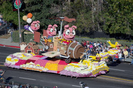 tournament of roses: PASADENA, CA - JANUARY 2: The La Canada Flintridge Float called: If Pigs Could Fly, participated in the 123rd Tournament of Roses Parade on January 2, 2012 in Pasadena, California