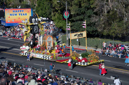 Pasadena, California, USA - January 2, 2012: California Clock Companys Float called: Timeless Fun For Everyone, participated in the 123rd Tournament of Roses Parade.
