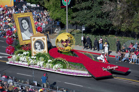 Pasadena, California, USA - January 2, 2012: AIDS Healthcare Foundation Float called: Our Champion, participated in the 123rd Tournament of Roses Parade.