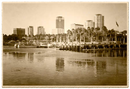 Vintage photograph of the marina. View of downtown Long Beach, California.