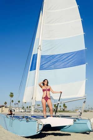 Beautiful beach swim suit model with retro style swim suit
