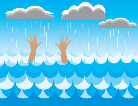 An illustration of a drowning person