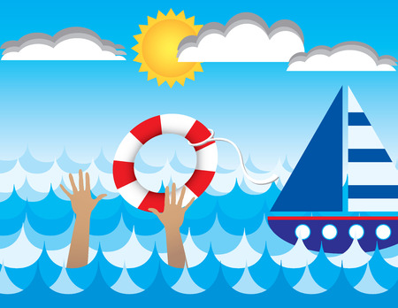 life preserver: An illustration of a drowning person being rescued by a passing ship  Stock Photo
