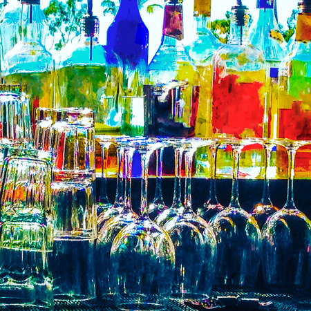 liquors: Blurry memories of a night on the town. Sitting at the bar. Stock Photo