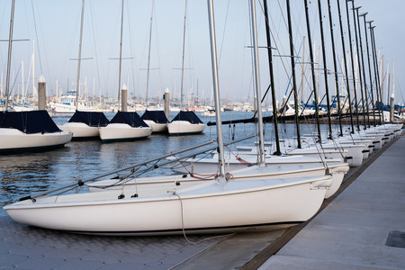 Sail boats docked in the Newport Beach Marina. Stock fotó
