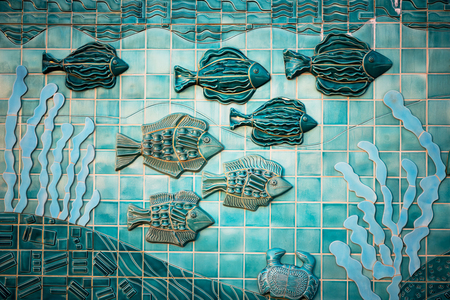 Beautiful Aqua mural depicting underwater sea life. Stock Photo