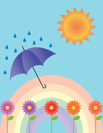 An illustration of a rainbow, flowers, umbrella, rain and the sun.