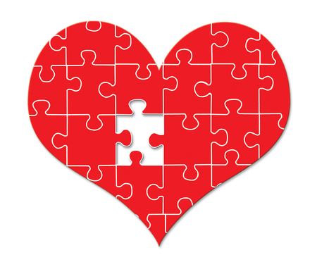 Puzzle Heart isolated on white background Illustration