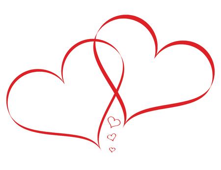 Linked Hearts with mini Hearts isolated on white background Ilustração