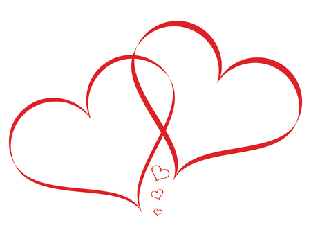 Linked Hearts with mini Hearts isolated on white background Illustration