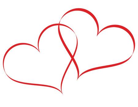 Linked hearts Stock Illustratie