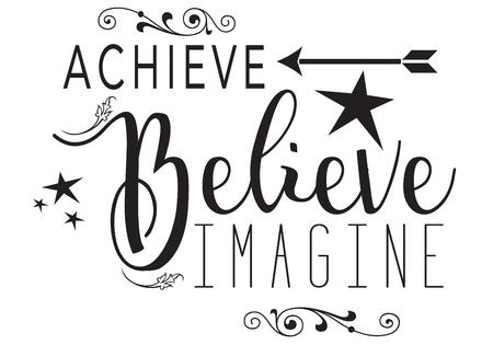 Achieve, Believe, Imagine isolated on white background  イラスト・ベクター素材