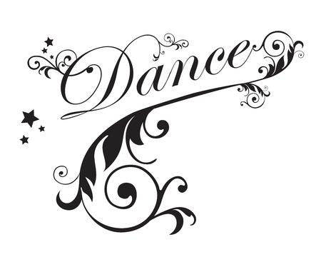Dance typography with swirls design vector illustration