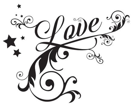 Love with swirls  イラスト・ベクター素材