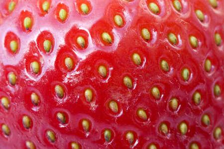 Fresa piel que muestra en detalle las semillas y diminutos pelos en su superficie.