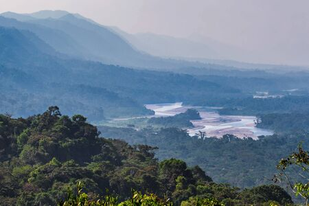 View over the Madre de Dios River in the Amazon Basin in Manu National Park, Peru