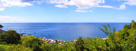 panoramic view of the bay of Saint Pierre in Martinique. French West Indies.