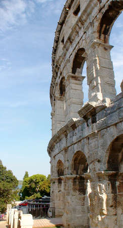 ancient Roman amphitheater in Pula in Croatia