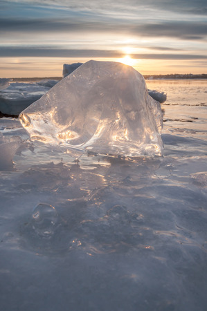 ice floes: Ice on the river bank Stock Photo