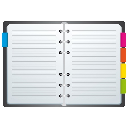 notebook paper background: Spiral notebook with colors and labels
