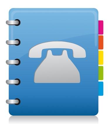 Książka telefoniczna niebieski spirala z kolorowych etykiet Ilustracje wektorowe
