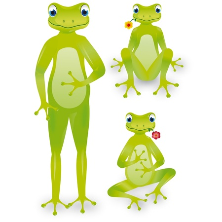 jump up: Frog with flower, standing, sitting cross-legged and