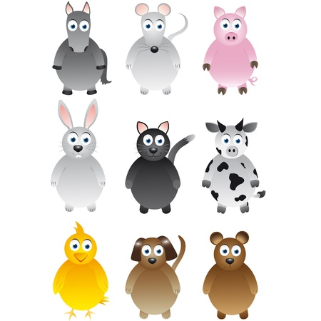 Series of pets and farm with horse, mouse, pig, rabbit, cat, cow, chick, dog and bear Vector