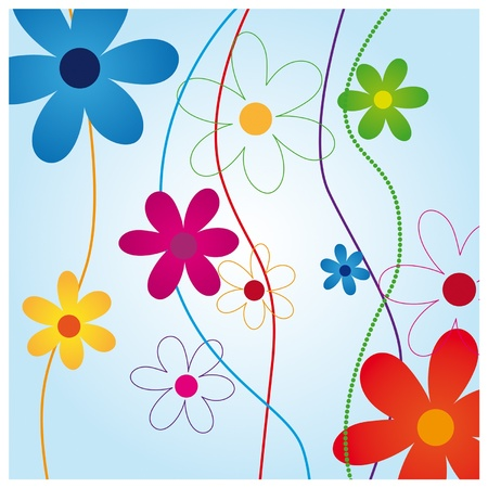 yellow flower: Colorful wallpaper patterned with decorative flowers on a blue background Illustration