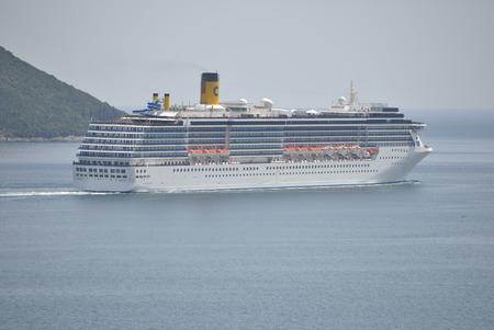 mediterranea: Herceg Novi, Montenegro June 23, 2016: Costa Mediterranea cruise ship in Boka Bay, Montenegro. Costa Mediterranea is was constructed  in Helsinki, Finland.