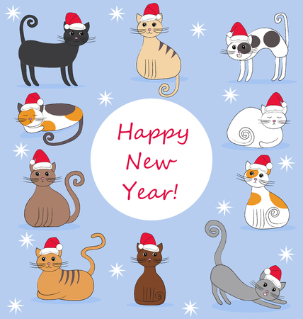 holydays: Illustration of funny cats in new year caps on the blue background Illustration