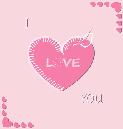 infatuation: Vector illustration of romantic embroidered heart on the pink background Illustration