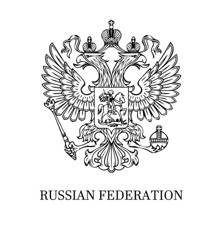 The illustration of outlined coat of arms of Russian Federation with two-headed eagle. Black and white. Illustration
