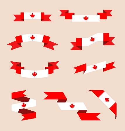 canadian flag: Vector set of scrolled isolated ribbons or banners in colors and with symbol of Canadian flag. Illustration