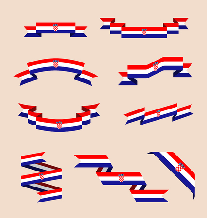 Vector set of scrolled isolated ribbons or banners in colors and with symbols of Croatian flag. Illustration