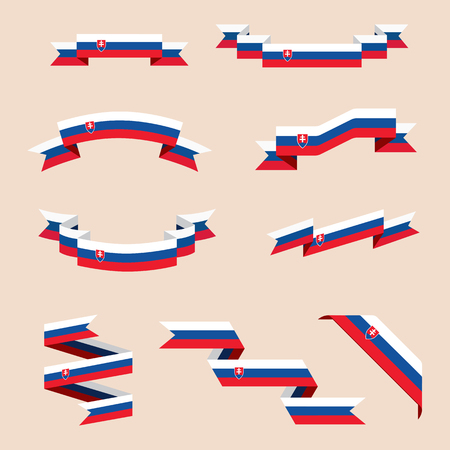 Vector set of scrolled isolated ribbons or banners in colors and with symbols of Slovak flag. Illustration