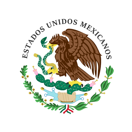 The vector illustration of colored coat of arms of Mexico. Ilustrace
