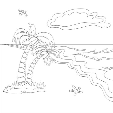 Vector outlined tropical beach scene. Can use for coloring book.